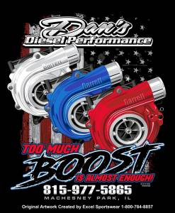 "Dan's Diesel Performance, INC. - DDP Black ""Too Much Boost"" T-Shirt"