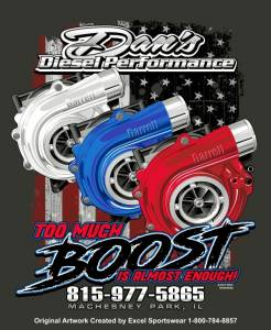 "Dan's Diesel Performance, INC. - DDP Charcoal Gray ""Too Much Boost"" T-Shirt"