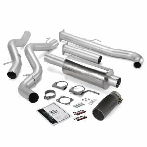 Banks Power Monster Exhaust System Single Exit Black Tip 01-04 Chevy 6.6L EC/CCLB