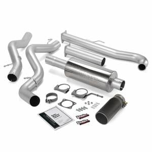 Banks Power Monster Exhaust System Single Exit Black Tip 01-04 Chevy 6.6L EC/CCSB