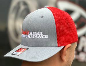 DDP Merchandise - Hats - Dan's Diesel Performance, INC. - DDP Red & Gray Large/X-Large Flex Fit Hat w/ Full Logo