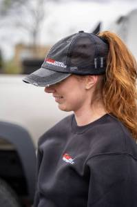 DDP Merchandise - Hats - Dan's Diesel Performance, INC. - DDP Women's Distressed High Ponytail Hat w/ Side Logo